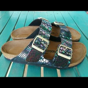 Birkenstock Arizona Birko-Flor Shiny Snake Narrow